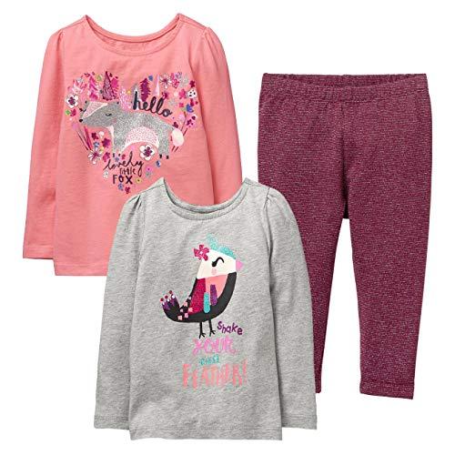 Gymboree Girls' 3-Piece Bundle Hello Fox Tee + Sparkle Bird Tee + Sparkle Leggings Set (5T) ()