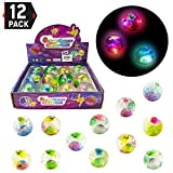 Liberty Imports 1 Dozen of LED Light Up Glitter Bouncy Balls with Colorful Fish, Confetti and LED Flasher (Party Favor)