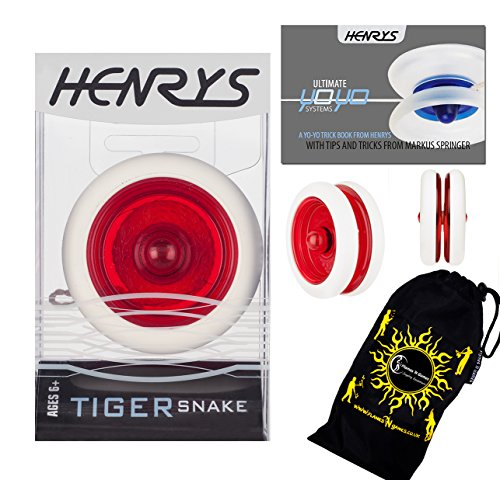 Henrys TIGER SNAKE YoYo (Red) Professional Looping Trick (2A) Bearing YoYo with AXYS system +Instructional Booklet of Tricks & Travel Bag! Pro YoYos For Kids and ()