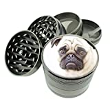 Dog pug cute Titanium 4 PC Magnetic Grinder 2.1' Hand Mueller