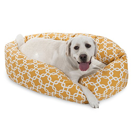 Majestic Pet 40 Inch Yellow Links Sherpa Bagel Dog Bed