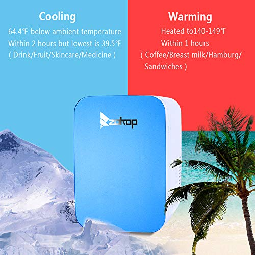 ZOKOP Electric Mini Portable Fridge, Cooler & Warmer Refrigerator (6L/ 8Can) AC 120V/DC 12V Thermoelectric System, for Home, Office, Car, Picnic, Camping, Outdoor (Blue) by OLYM STORE (Image #3)