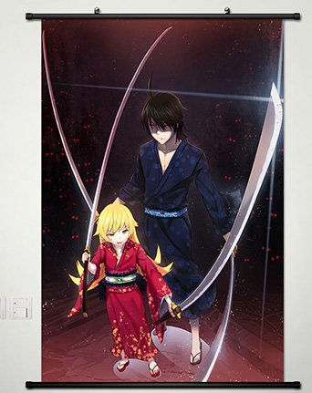 Home Decor Anime Bakemonogatari Wall Scroll Poster Fabric Painting Araragi Koyomi & Oshino Shinobu