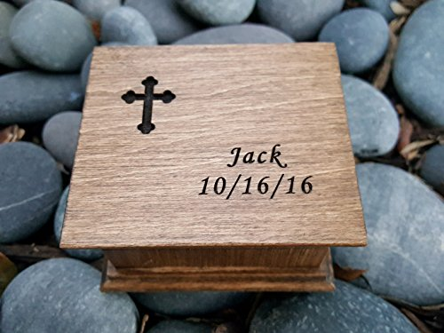 Christening gift, custom engraved music box with a cross design and a name on top, with your choice of color and song