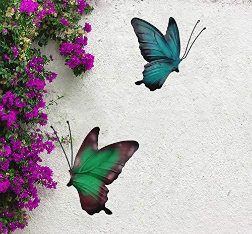 2Pcs/Set Metal Butterfly Fence Hanger Wall Art Yard Outdoor Lawn Garden Decor