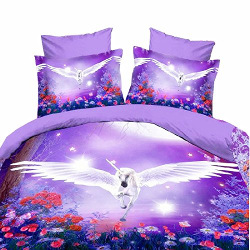Purple Flying Unicorn 3D Bedding Sets 4 Piece Duvet Cover Sets ,1 Bed Sheets 1 Duvet Cover 2 Pillowcases,Twin