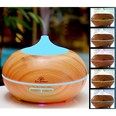 Zen Breeze, Essential Oil Diffuser, 2017 Model Aroma Humidifier, 14 Color Shades, Best Wood Grain, Ultrasonic Whisper Quiet Cool Mist Aromatherapy