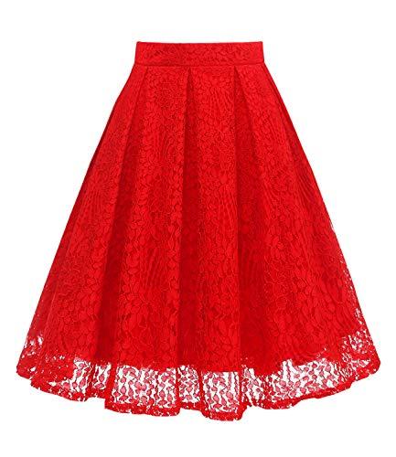Girstunm Women High Waist Pleated A-Line Knee Length Lace Pockets Skirt Red XS ()