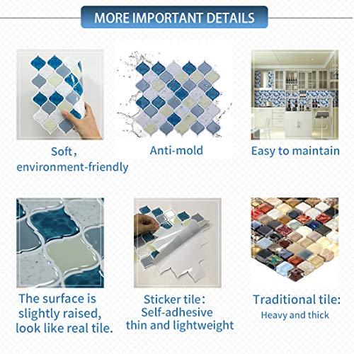 Peel and Stick Tile Backsplash for Kitchen Bathroom,Teal Arabesque Tile Backsplash,Mosaic Backsplash Sticker (8 Tiles) by HUE DECORATION (Image #4)