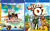 Chitty Chitty Bang Bang Blu Ray + DVD & The Wizard of Oz Family Blu Ray Set Musical Classic Bundle Movies Double Feature