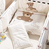 JACKBABYBABY Unisex Baby Bedding Set Cotton 3D Embroidery Bear Quilt Pillow Bumper Bed Sheet 5 Pieces Crib Bedding Set White Color