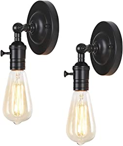 HAITRAL Swing Arm Wall Sconces 2 Pack- Rustic Industrial Wall Lamps with Adjustable Angle, Farmhouse Wall Sconces Lighting for Bedside, Farmhouse, Hallway, Kitchen, Bedroom (Bulb is Not Included)