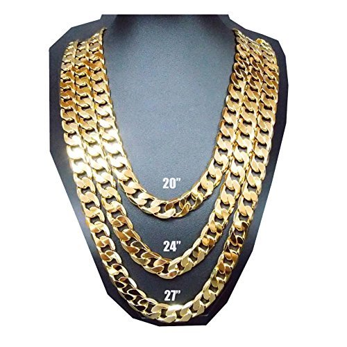 d7b195b03e88e Gold Chain Necklace 9MM 24K Fashion Jewelry Diamond cut Miami Cuban Link  Hip Hop Real solid