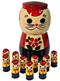 "Russian Matryoshka Cat with 10 Kittens Nesting Doll - Wooden Handpainted Christmas Gift - Nested Counting Set - 5"" Tall"