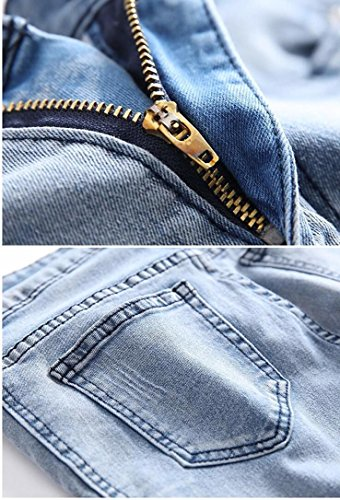 Kihatwin Big Boy Fashion Biker Moto Ripped Distressed Skinny Slim Fit Jeans Jeans Blue 12 by Kihatwin (Image #4)