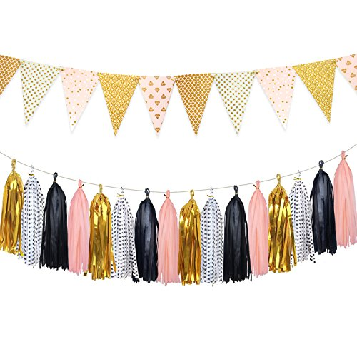 Shiny Paper Pennant Bunting Banner Triangle Flag 8.5 Feet and Tissue Paper Tassels Garland 20 pcs for Birthday Party, Baby Shower, Wedding Photo Booth Props Decoration, Gold+Black+Peach -