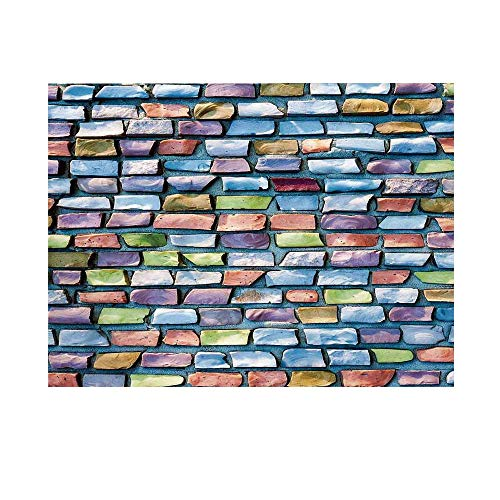 Geometric Decor Photography Background,Colorful Mosaic Textured Sketchy Brick Wall Display Glossy Grid Modern Artwork Backdrop for Studio,10x8ft