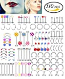 LOYALLOOK 110PCS 14-16G Body Jewelry Piercing Set Eyebrow Navel Belly Tongue Lip Nose Stud Bar Ring 22 Styles for Men Women
