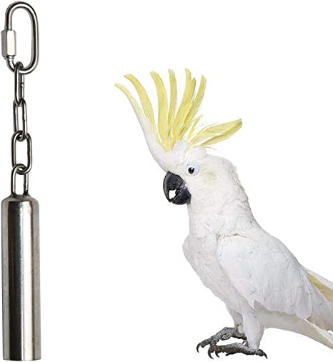Parrot Stainless Steel Bell Toy Bird Cage Swing Stand Toy Decoration for Small Bird Parakeet Budgie Cockatoo Conure Cockatiel Canary Finch Lovebird