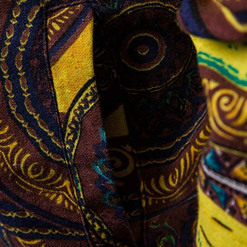 Africain Imprimé Sweatshirt Manteau Longues Dashiki Fermeture Homme Chemise Café Tonsi Éclair Manches pZYxXR