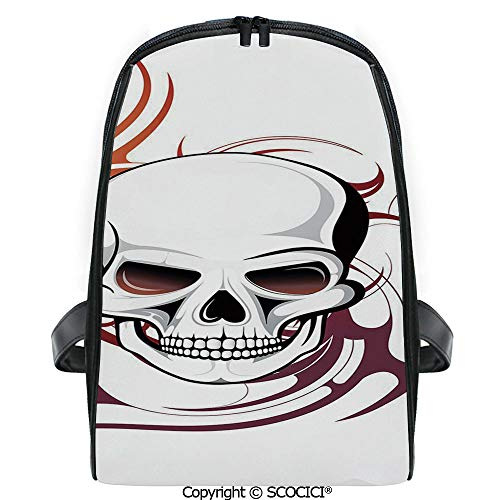 SCOCICI 3D Digital Printed Backpack Scary Fierce and Wild Skull with Red Flames Tribal Artistic Tattoo Image Cute Outdoor Daypack