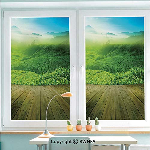 (RWNFA Non-Adhesive Privacy Window Film Door Sticker Wood Platform Landscape View of Tea Plantation with Blue Sky in Morning Decorative Glass Film 22.8 in by 35.4in(58cm by 90cm),Sky Blue Green Brown)