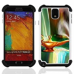 For Samsung Galaxy Note3 N9000 N9008V N9009 - Magical Lamp Gini Art Fairytale Dreamworld /[Hybrid 3 en 1 Impacto resistente a prueba de golpes de protecci????n] de silicona y pl????stico Def/ - Super Mar