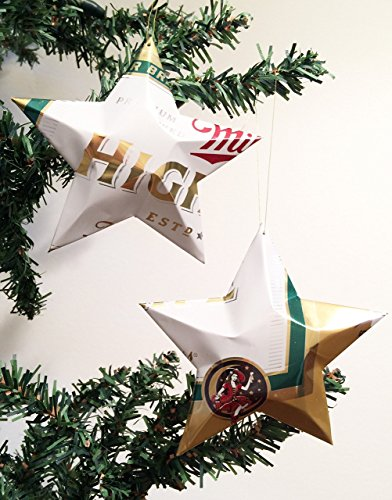 Miller High Life Beer Can Stars, Recycled Aluminum Beer Can Stars, Upcycled Miller High Life Christmas (Tiny Beer Cans)