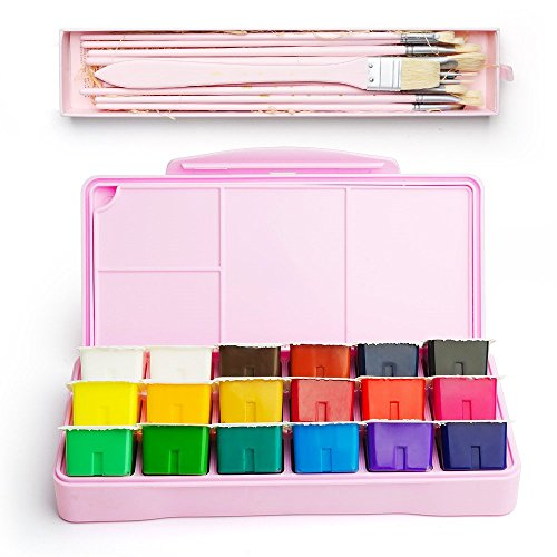 MIYA Gouache Paint Kit, 18 Colors x 30ml Paint Set & 10 Pieces Hog Bristle Paint Brushes, Unique Jelly Cup Design with Portable Case Gouache, Perfect for Oil, Acrylic Painting & More (Pink)
