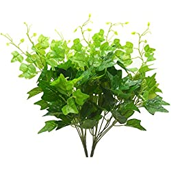 Bird Fiy Artificial Greenery Silk English Ivy Leaves Fake Bouquet Simulation Greenery Bushes Indoor Outside Home Garden Office Verandah Wedding Décor 2PCS Artificial Plants