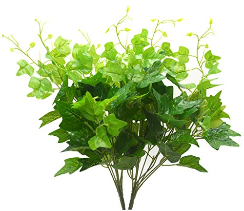 English Ivy Flowers - Bird Fiy Artificial Greenery Silk English Ivy Leaves Fake Bouquet Simulation Greenery Bushes Indoor Outside Home Garden Office Verandah Wedding Décor 2PCS Artificial Plants