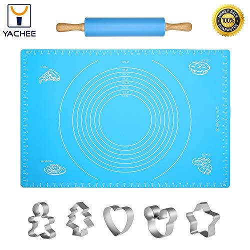 Yachee Silicone Baking Mat Set for Pastry Rolling Dough with Measurements, Extra Large Liner Heat Resistance - BPA Free - Reusable - Non-Stick Pastry Board with Rolling Pin and 5 Cookie Cutters-Blue