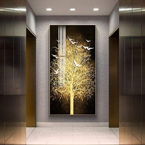 Llxhg北欧キャンバス絵画抽象リビングルームゴールデンアートウォール写真プリントベッドルームダイニングルームのホームインテリアポスターアート-50X100Cm何フレームません