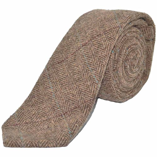 Luxury Herringbone Brown Tweed Necktie, (Luxury Herringbone Necktie)