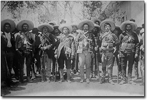 Mexican Poster Revolution - Pancho Villa with Generals Mexican Revolution 12x18 Silver Halide Photo Print
