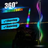 Night Fire 5FT LED Lighted Whip Chasing Dancing Flag Poles Safety Whips Antenna Lights 300 Combinations For Polaris RZR UTV ATV Sand Dune Buggy Boat Racing Motorcycle w/Remote Control ( One Whip )