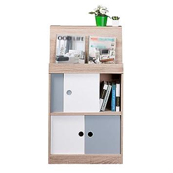 ZWW electronic Unidad de Almacenamiento de Cubos de Biblioteca de Madera Biblioteca de visualización de Oficina en casa Organizador, Estante de estantería ...
