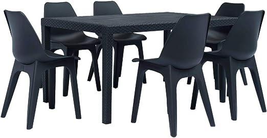 Fesjoy Conjunto de Muebles de Exterior Patio Interior de Invernadero Juego de sillas de Mesa de Comedor de 6 plazas Conjunto de Muebles de jardín Mesa de plástico sólido para la Cocina: