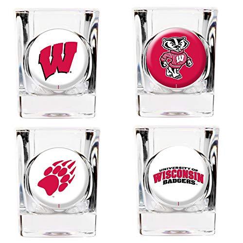 (U of Wisconsin 4-piece Shot Glass Set - Etching Personalized Gift Item)