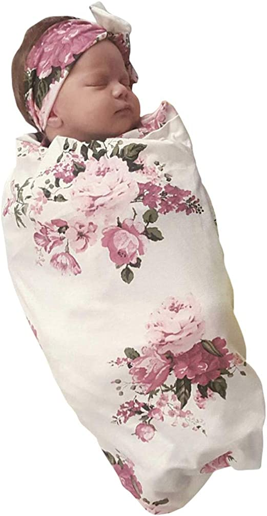 Newborn Girls Receiving Blanket Headband Set Flower Baby Swaddle Blankets Infant Warm …