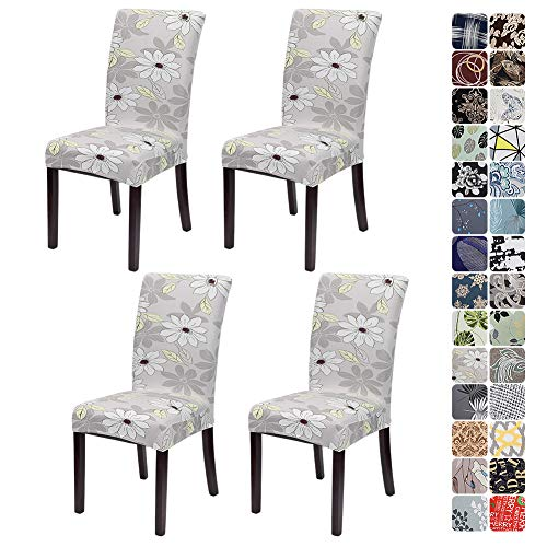 JOTOM Dining Chair Covers Seat Protector Stretch Removable Soft Spandex Decoration Seat Slipcovers for Home Dining Room Hotel Ceremony Banquet Wedding Party (Flower and Leaf, Pack of 4)