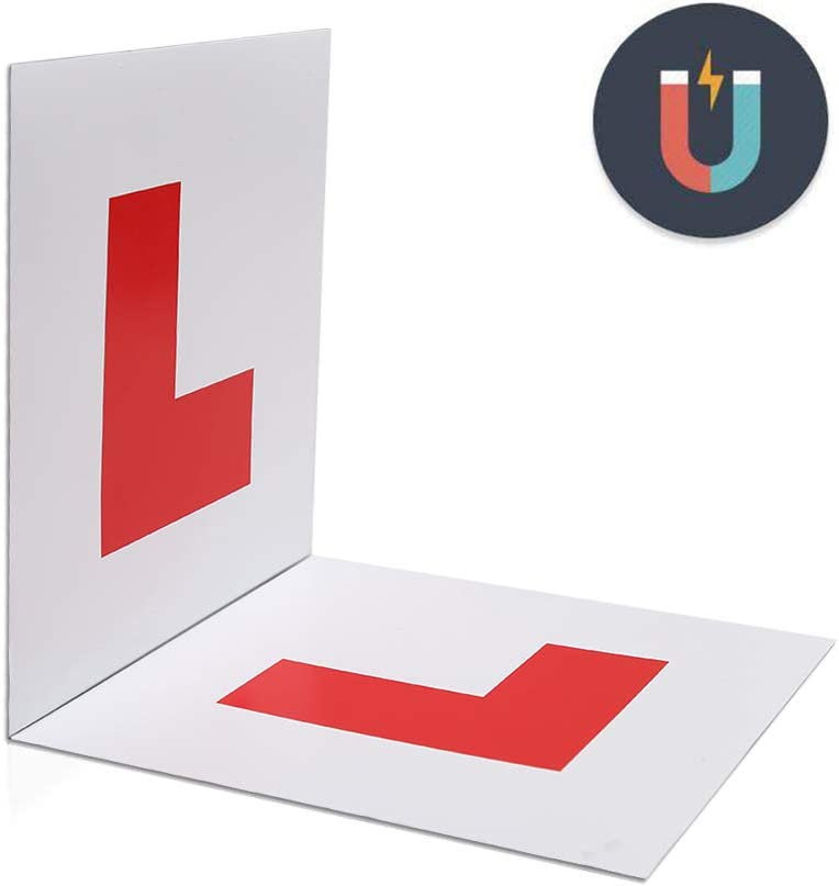 2 Pack of Learner Plates with Stronger Magnetism and Bigger Thickness Waterproof and conspicuous MAXTUF Fully Magnetic 2L Plates for New Drivers