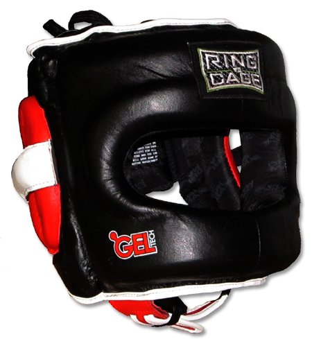 Ring to Cage Deluxe Full Face GelTech Sparring Headgear for Boxing, Muay Thai, MMA, Kickboxing (Regular, Black/Red)