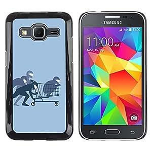 TopCaseStore / la caja del caucho duro de la cubierta de protección de la piel - Funny Ninja Shopping - Samsung Galaxy Core Prime SM-G360