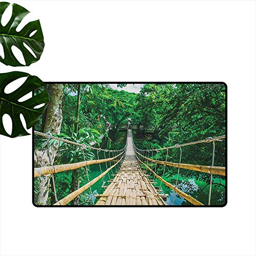 "Tropical,Carpet Flooring Bamboo Pedestrian Suspension Bridge Over River in Tropical Forest Philippines 36""x48"",Outdoor mats"