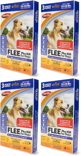 Martin's FLEE Plus IGR For Dogs 23-44lb 3 Month Supply, 4ct (12 Applicators)