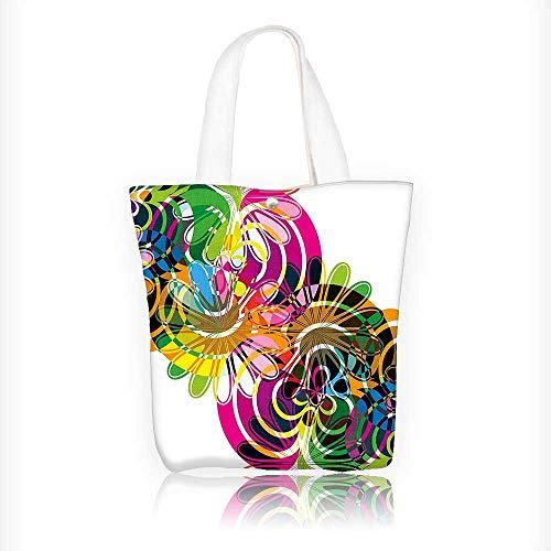Bolsa de lona con diseño de lunares, arcoíris y caracol con cierre de cierre, bolsa de la compra, bolso de hombro para...