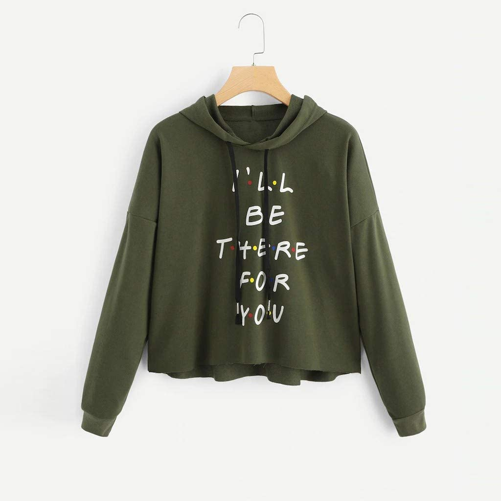 PKTOP Womens Ill BE There for You Letter Slogan Crop Hoodie Pullover Sweatshirt Tops