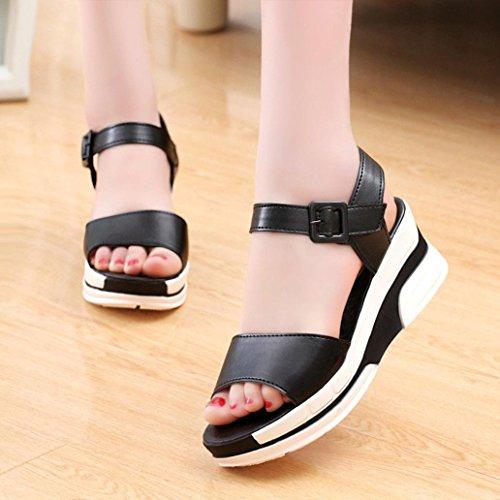 Zapatos Luckygirls Moda Playa Chancleta Boca Suela Chanclas Cómodos Mujer Gruesa Casual Pescado Sandalias Antideslizante Verano Negro De Zapatillas Diseñar FwFC18q