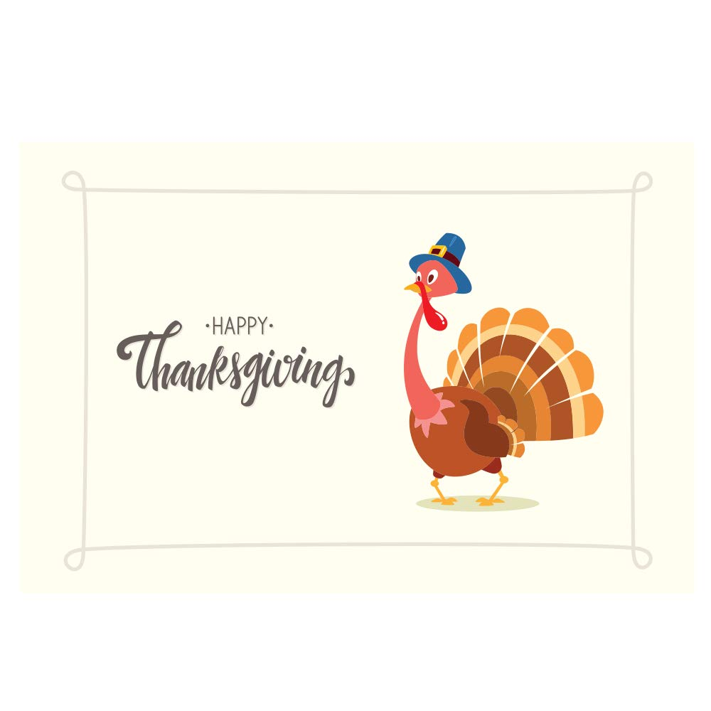 11 x 17 Happy Thanksgiving Turkey Note Card Cafe Paper Placemats 48 Count